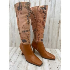 Bellini Asian Print Leather Tall Boots Size 8